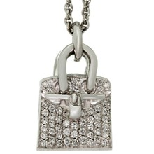 HERMES Birkin Amulette Diamond 18k White Gold Pendant Necklace
