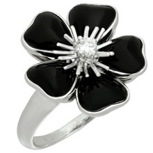 VAN CLEEF & ARPELS Nerval Diamond Black Onyx 18k White Gold Flower Ring