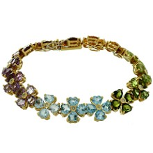 Diamond Gemstone 18k Yellow Gold Flower Bracelet