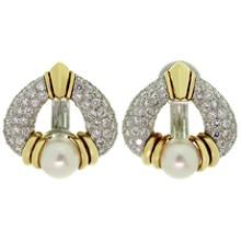 HARRY WINSTON Pearl Diamond Platinum Gold Rotatable Clip-on Earrings