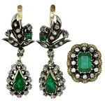French Victorian Emerald Diamond Silver-Topped 18k Gold Drop Earrings & Ring Set