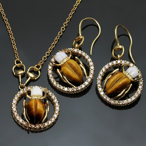 GUCCI Diamond Gemstone Yellow Gold Scarab Beetle Earrings & Necklace Set