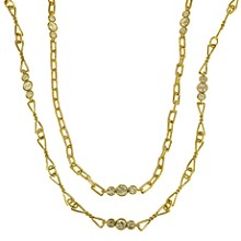 DAVID WEBB Diamond 18k Yellow Gold Long Chain Necklace Pair Set