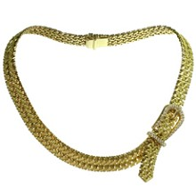 HERMES Diamond 18k Yellow Gold Woven Link Belt Buckle Necklace