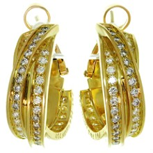 TRINITY De CARTIER 18k Yellow Gold Diamond Earrings