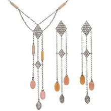 LUCA CARATI Pink Opal Diamond 18k White Gold Necklace & Earrings Suite