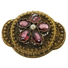 Antique Victorian Rubellite 15k Yellow Gold Hand-Made Filligree Pendant Brooch