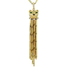 Panthère de CARTIER Diamond Emerald Enamel Yellow Gold Tassel Long Necklace