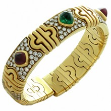 BULGARI Parentesi Sugarloaf Ruby Emerald Diamond 18k Yellow Gold Cuff Bracellet