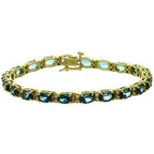 Blue Topaz Diamond 14k Yellow Gold Oval Link Bracelet