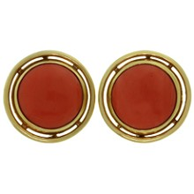 CARIMATI Genuine Red Coral 18k Yellow Gold Large Round Clip-on Earrings