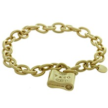 TIFFANY & CO. Round Link Chain 18k Yellow Gold Lock Bracelet