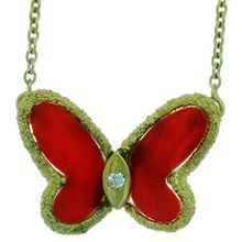 VAN CLEEF & ARPELS Natural Oxblood Coral 18k Yellow Gold Butterfly Pendant Neckalce