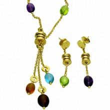 BULGARI B.Zero1 Gemstone 18K Yellow Gold Earrings & Necklace Suite
