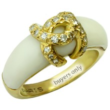 CARTIER Diamond White Coral 18k Yellow Gold Ring