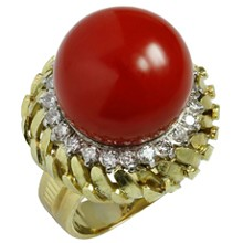 Natural Oxblood Coral Diamond 18K Yellow Gold Dome Ring