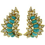 NEIMAN MARCUS Diamond Turquoise 18k Yellow Gold Clip-on Earrings