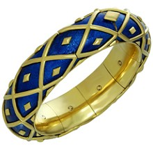 TIFFANY & CO. Schlumberger 18k Yellow Gold Blue Enamel Dot Losange Bracelet