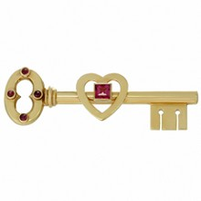 TIFFANY & CO. Pink Sapphire Rose Gold Key Brooch