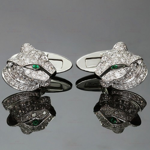 CARTIER Panthere Full Pave Diamond Emerald 18k White Gold Cufflinks
