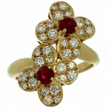 VAN CLEEF & ARPELS Double Trefle Ruby Diamond 18k Yellow Gold Clover Flower Ring