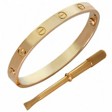 CARTIER Love 18k Rose Gold Bangle Bracelet Size 16 Box Papers