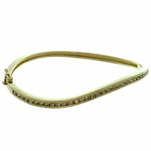 Vintage Diamond 14k Yellow Gold Wave Design Bangle Bracelet