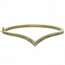 Vintage Diamond 14k Yellow Gold V Shape Bangle Bracelet