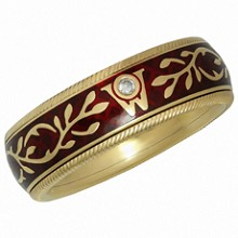 WELLENDORFF Forget-Me-Not Diamond Red Enamel 18k Yellow Gold Spinning Ring