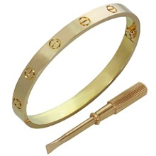 CARTIER Love 18k Rose Gold Bracelet Bangle New Model Size 17 Box Papers