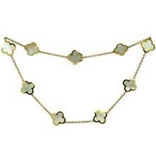 VAN CLEEF & ARPELS Pure Alhambra Mother-of-Pearl 18k Yellow Gold 9 Motif Necklace