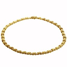 TIFFANY & CO. Signature X Collection Diamond 18k Yellow Gold Necklace