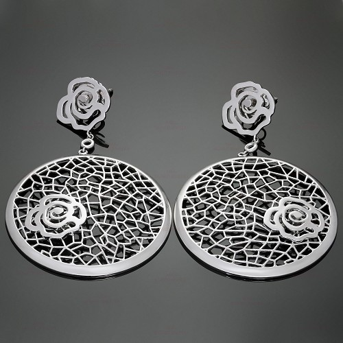 BUCHERER 18k White Gold Floral Drop Earrings