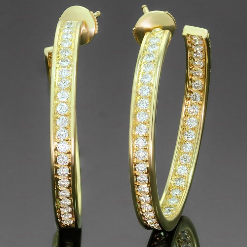 CARTIER Inside Out Diamond 18k Yellow Gold Large Hoop Earrings