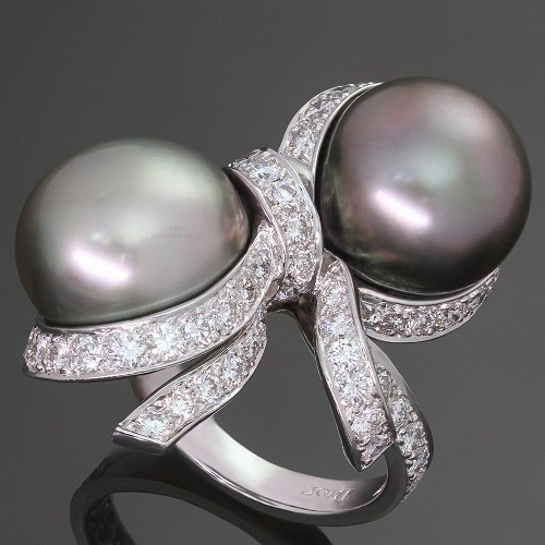 CHRISTIAN DIOR Diamond Tahitian Pearl 18k White Gold Caprice Ring 55