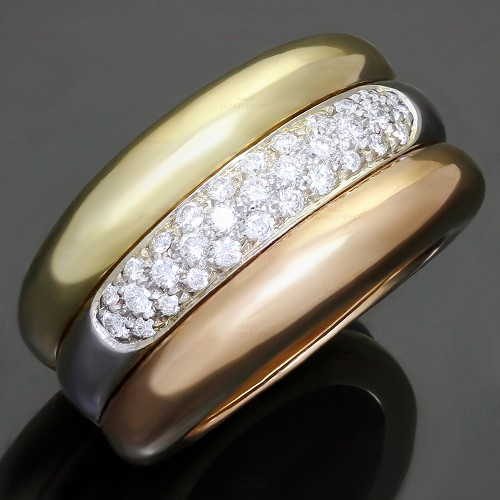 CARTIER Diamond 18k Tri-Color Gold Large Ring