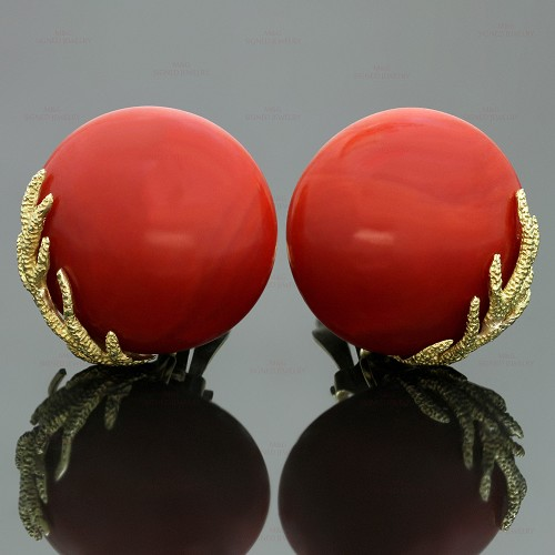 Vintage Natural Oxblood Coral 14k 18k Yellow Gold Clip-on Earrings