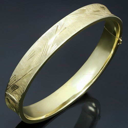 Hand-Engraved Filligree 14k Yellow Gold Bangle Bracelet