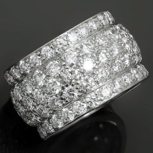CARTIER Nigeria Diamond White Gold Wide Dome Band Ring