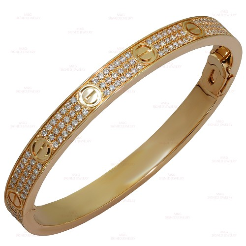 CARTIER Love Pave Diamond 18k Rose Gold Bangle Bracelet Size 18