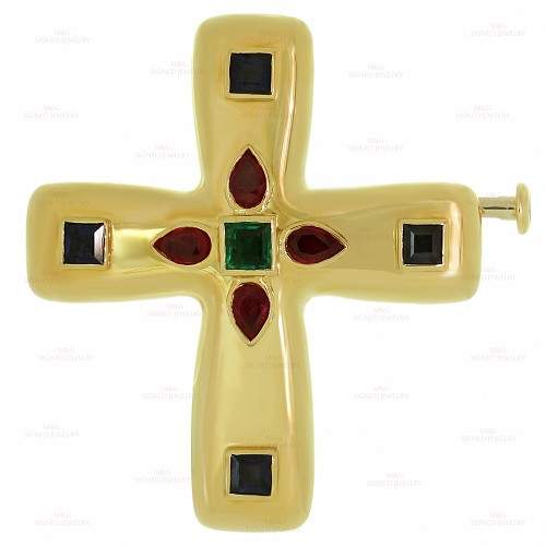 CARTIER Byzantine Multicolor Gemstone 18k Yellow Gold Medium Cross Pendant Brooch