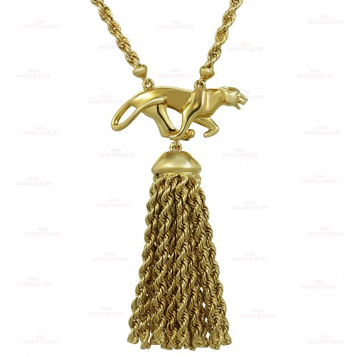 Panthere de CARTIER Panther Pendant with Tassel 18k Yellow Gold Necklace