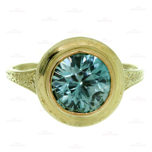 Antique Blue Quartz Handcrafted Filigree 14k Yellow Gold Ring