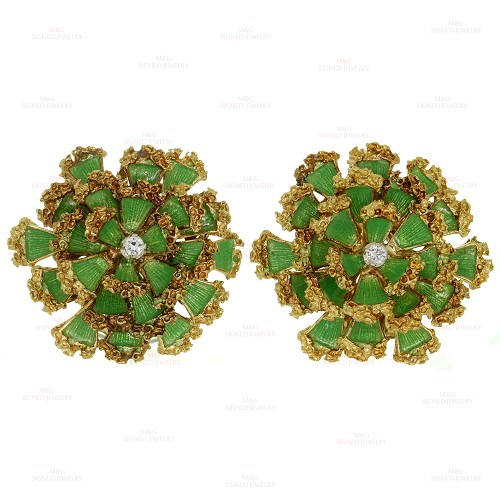 1960s Green Enamel Diamond 18k Yellow Nugget Gold Flower Earrings