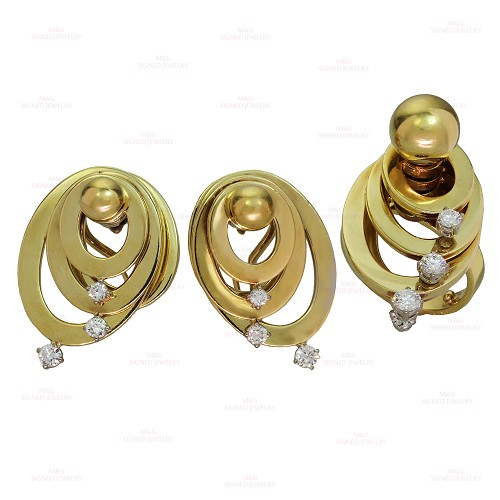 SCHMITTSTAIB Diamond 18k Yellow Gold Spinning Earrings & Ring Set