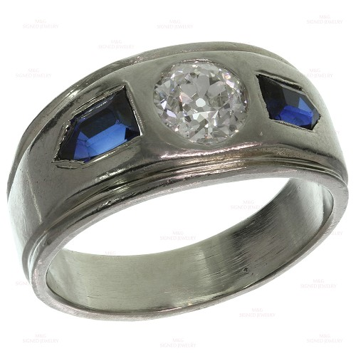 Antique Diamond Blue Sapphire White Gold Men's Ring